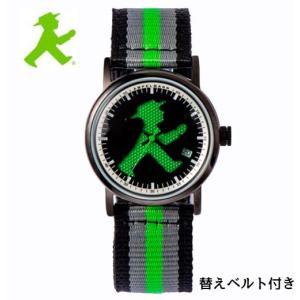 アンペルマン 腕時計 AMPELMANN  クォーツ ラウンド ブラック文字板  ASC-4972-05 ナトー式替えベルト付き yosii-bungu