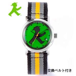 アンペルマン 腕時計 AMPELMANN  クォーツ ラウンド グリーン文字板  ASC-4972-12 ナトー式替えベルト付き yosii-bungu