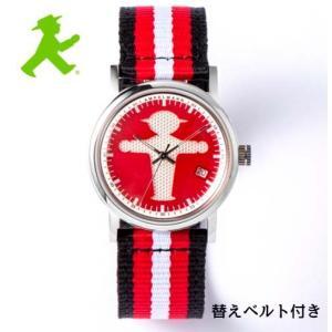 アンペルマン 腕時計 AMPELMANN  クォーツ ラウンド レッド文字板  ASC-4972-19 ナトー式替えベルト付き yosii-bungu