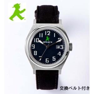 アンペルマン 腕時計 AMPELMANN  クォーツ ラウンド ブラック ASC-4979-04  ナトー式替えベルト付き yosii-bungu
