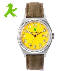 アンペルマン 腕時計 AMPELMANN  クォーツ ラウンド イエロー ASC-4979-16 ナトー式替えベルト付き yosii-bungu