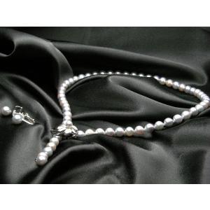 カシェ パールネックレス 黒真珠 ネックレス 8mm イヤリング付きセット 「フラワーモデル」|yosii-bungu