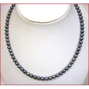 (今ならポイント最大41倍!)アコヤ 黒真珠 ネックレス 6mm 少し小さめの グリーン系色|yosii-bungu