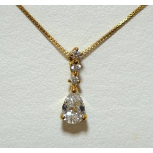 ファンシーズ K18ダイヤモンドネックレス (ペアシェイブ)カット   0.405ct  DTC(正規品)鑑定書付き|yosii-bungu