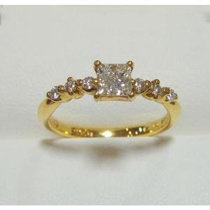 ファンシーズ ダイヤモンドリング  (スクエアシェイブ)カット K18   0.416ct  DTC(正規品)鑑定書付き|yosii-bungu