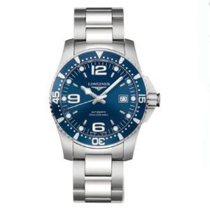 ロンジン 腕時計 ハイドロコンクエスト ブルー文字板   41mm 300m防水 ダイバーウォッチ 自動巻  L3.742.4.96.6 正規品 yosii-bungu