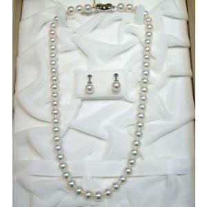 (今ならポイント最大41倍!)あこや本真珠(本格花珠真珠) パールネックレス2点セット  パールホワイト系 8mm-8.5mm  ≪真珠総合研究所発行鑑別書付 ≫|yosii-bungu
