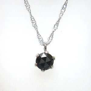 永遠の輝き「一粒ダイヤモンドネックレス」 ホワイトゴールド×0.2ctブラックダイヤモンド ネックレス|yosii-bungu