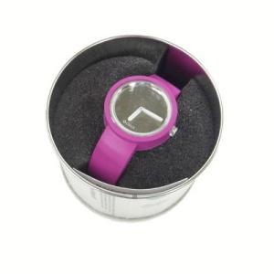 オクロック  オクロック 【O clock】 ミラー文字盤仕様 バイオレット カラーシリコンウォッチ 缶詰に入ったおしゃれウオッチ  最新シリコンウオッチ|yosii-bungu