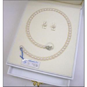 カシェ パール ロワゾブルー (幸せの青い鳥) パールネックレス イヤリングセット   7mm〜7.5mm|yosii-bungu