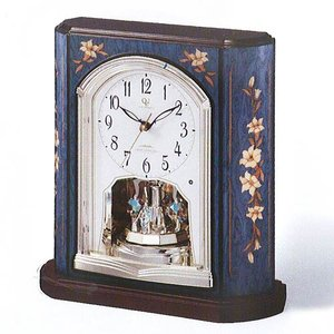 RHYTHM ハイグレード リズム 青色象嵌仕上げ  電波置時計 RHG-S69-04  4RY701HG04   (イタリア製象嵌使用)|yosii-bungu