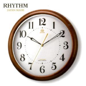(今ならポイント最大37倍!)ハイグレードリズム RHYTHM 茶色艶仕上(白)RHG-M008 電波掛時計 8MY524HG06|yosii-bungu