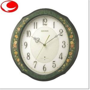 (今ならポイント最大37倍!)リズム RHYTHM 掛け時計 象嵌仕上げ(緑色) RHG-M89 電波掛時計 4MY748HG05|yosii-bungu