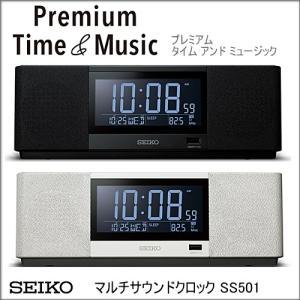 SEIKO CLOCK セイコー プレミアム タイム&ミュージック  SS501K SS501A  置き時計  ブラック・ホワイト|yosii-bungu