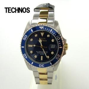 テクノス 腕時計 (TECHNOS)  ブルー ダイバーズ20気圧防水 T2118TN メンズ|yosii-bungu