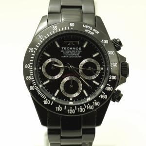 テクノス 腕時計 (TECHNOS)  クロノグラフウォッチ オールブラック T4685BB|yosii-bungu