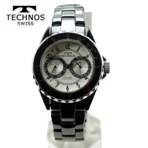 テクノス 腕時計 (TECHNOS)  メンズ ブラックセラミックベルト付 T9548TS|yosii-bungu