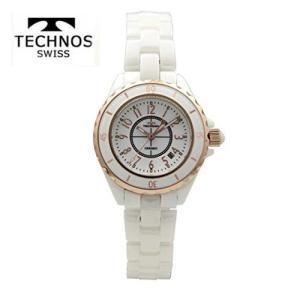 テクノス 腕時計 (TECHNOS)  レディース(女性用) ホワイトセラミックベルト付 T9832PW|yosii-bungu