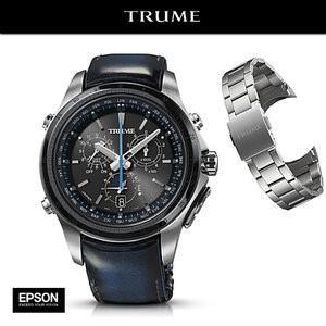 EPSON エプソン TRUME トゥルーム  TR-MB5005 (ステンレス・アドバンレザー ブルー) ソーラー 腕時計(メンズ)  GPS衛星電波時計|yosii-bungu