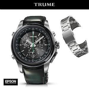 EPSON エプソン TRUME トゥルーム  TR-MB5006(ステンレス・アドバンレザー グリーン) ソーラー 腕時計(メンズ)  ライトチャージ GPS衛星電波時計 Cコレクション|yosii-bungu