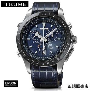 EPSON  エプソン TRUME トゥルーム TR-MB5007  紺色 レザーバンド  ソーラー 腕時計 (メンズ)  (2年間保証)|yosii-bungu