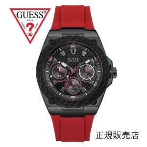 GUESS ゲス レガシー W1049G6 メンズ 45mmサイズ【正規品】赤ベルト yosii-bungu