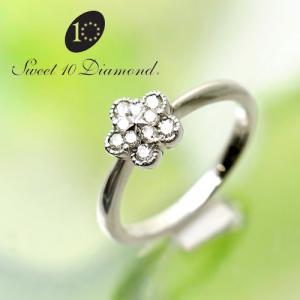 スイート10ダイヤモンド Sweet 10 Diamond K18WG ダイヤモンド リング   0.10ct  12号 WMD1R005W   【正規保証書付き】<|yosii-bungu