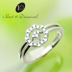 スイート10ダイヤモンド Sweet 10 Diamond K18WG ダイヤモンド リング   0.10ct  WRD1R022W   【正規保証書付き】<|yosii-bungu