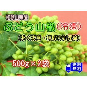 ブドウ山椒(冷凍)【あく抜き・枝取り処理済み】500g×2箱...