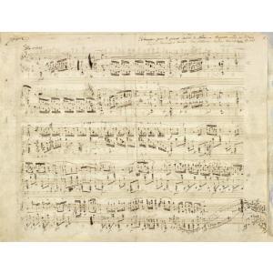 音楽教室の 装飾などに ショパン 手書き 楽譜 五線譜 レプリカ風 レトロポスター 40×50cm 布画