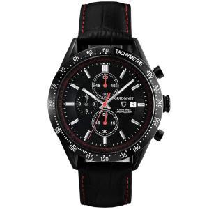 ギオネ 腕時計 フライトタイマー タキメータークロノグラフ FC42BBK-BK