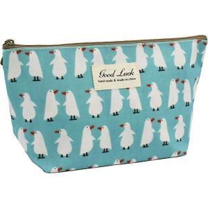 ポーチ Lサイズ かわいい 化粧ポーチ バッグインバッグ おしゃれ メイクポーチ 立ちます 収納 整理 小物入れ (白いペンギン)|you-mart-smile