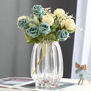 ガラスの花瓶 透明 花器 フラワーベース ガラスベース ガラスボトル 高級感 アレンジ インテリア 水栽培 生け花 造花 おしゃれ シンプル|you-mart-smile