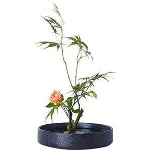 花器 水盤 花瓶 約20CM 生け花用の花器 花器 フラワーベースセラミック 生け花 陶器花入れ いけばな道具 華道用花器 Fukuka (|you-mart-smile