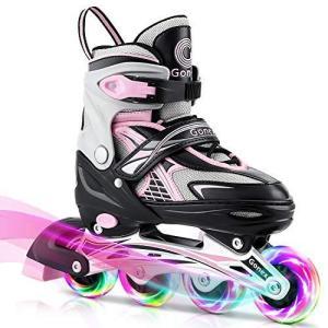 Gonex インラインスケート女の子男の子子供のため ローラースケート、調整可能なスケート屋外ブレード10代の女性のためのインラインローラー|you-mart-smile