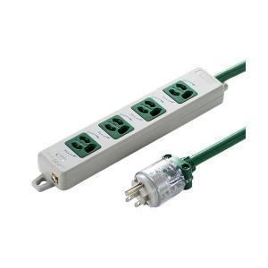 【商品名】 サンワサプライ 医用接地プラグ付き電源タップ グリーン TAP-HPM4-5G