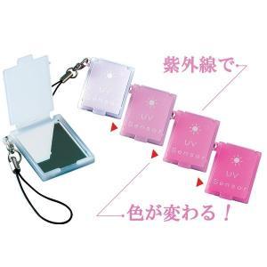 UVセンサー付 携帯ミニコンパクトミラー ストラップ付 日本製 紫外線対策 ポイント消化|you-new