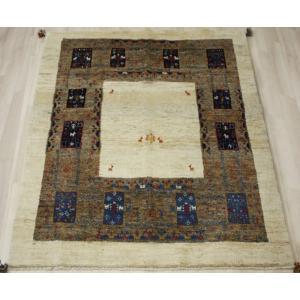 手織りラグマット 民族ラグ ペルシャギャベ BB18719 (Y) 約151×182cm ブラウン系 天然草木染め 天然素材ラグ 輸入ラグマット ウール|youai