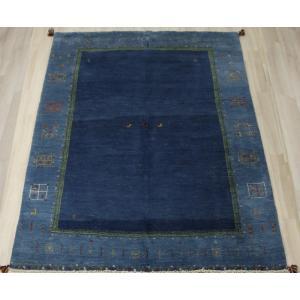 手織りラグマット 民族ラグ ペルシャギャベ BB23025 (Y) 約173×240cm ブルー ネイビー系 天然草木染め 天然素材ラグ 輸入ラグマット ウール|youai