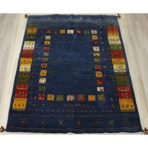 手織りラグマット 民族ラグ ペルシャギャベ BB28020 (Y) 約153×201cm ブルー ネイビー系 天然草木染め 天然素材ラグ 輸入ラグマット ウール|youai