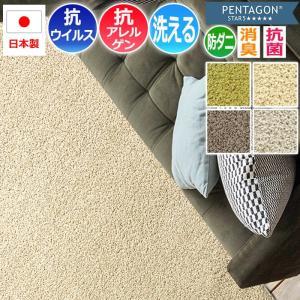 日本製 抗ウイルス カーペット 3畳 防ダニ 洗える ラグマット 絨毯 江戸間3畳 約176×261cm シャギー 北欧  四角形 prevell プレーベル ジャスパープラス|youai
