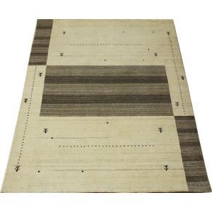 ギャベラグ インドギャベ ロリバフ LB-1915N (Y) 約140×200cm 輸入絨毯 ラグマット ウール ナチュラルカラー youai