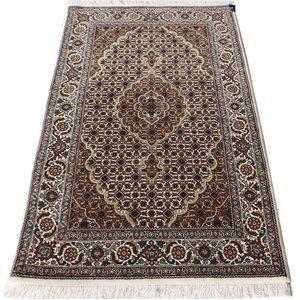 ペルシャ絨毯マヒ柄インド製ウール手織りラグマット (Y) 約83×128cmアイボリー youai