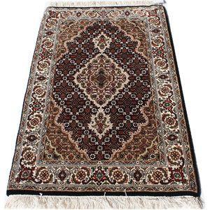 ペルシャ絨毯マヒ柄インド製ウール手織りラグマット (Y) 約63×92cmブラック youai