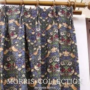 カーテン いちご泥棒 (Y) 8176-44T ウィリアムモリス デザインカーテン 幅300×丈200cm以内でサイズオーダー オックスフォード地 コットン100% 厚地カーテン youai
