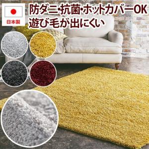 ふわふわ ラグ 日本製 ラグマット 絨毯 防ダニ prevell プレーベル ジュピター 約190×240cm シルバー ダークグレー ゴールド ワインレッド|youai
