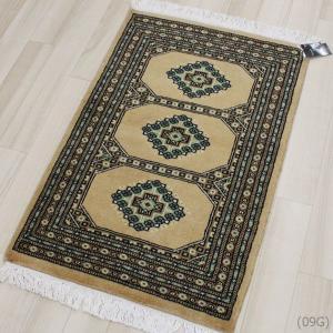 手織りパキスタン段通マット ベージュ(Y) 約60×90cm|youai