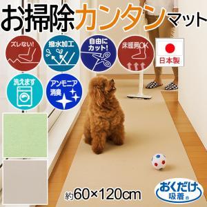 撥水 消臭 洗える 廊下カーペット ペットシート 置くだけ ズレない サンコーラクラクマット (Y) 約60×120cm ベージュ グリーン 床暖房対応|youai
