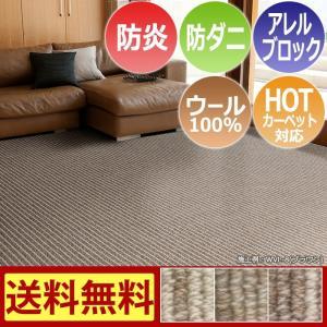 カーペット 6畳 防炎 防ダニ ウールカーペット 江戸間 六畳 絨毯 おしゃれ 安い 長方形 ウールバレー (S) 6畳 約261×352cm 半額以下|youai