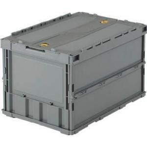 折りたたみコンテナ ボックス 収納 トラスコ ロックフタ付 薄型 50L グレー (2個セット) TR-C50B|youbetsuen-y